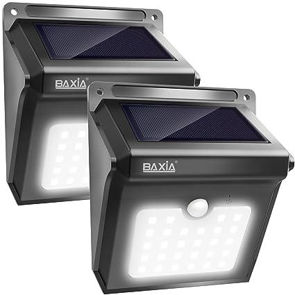 Lampe Solaire Extérieure, BAXiA 28LED Applique Solaire Sans Fil Lumière Solaire Imperméable avec Détecteur de Mouvement Lampe de Sécurité pour Jardin,Escalier Exterieur, Patio, Terrasse (400LM, Lot de 2)