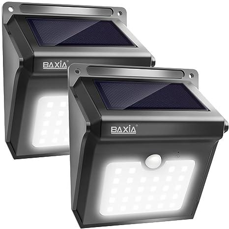Baxia - Lámpara de seguridad de 28 LED con detector de movimiento solar sin