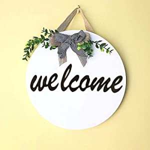 Unbrands Welcome Sign for Front Door Wood Welcome Home Sign Round Outdoor Welcome Signs for Porch Welcome Decrations for Home Rustic Farmhouse Decorations (White 1)