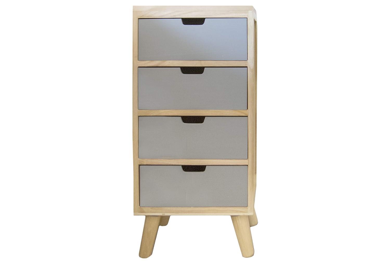 Mesita de noche con 4 cajones, madera maciza, color gris, para muebles modernos, patas cónicas montadas, altura de niño