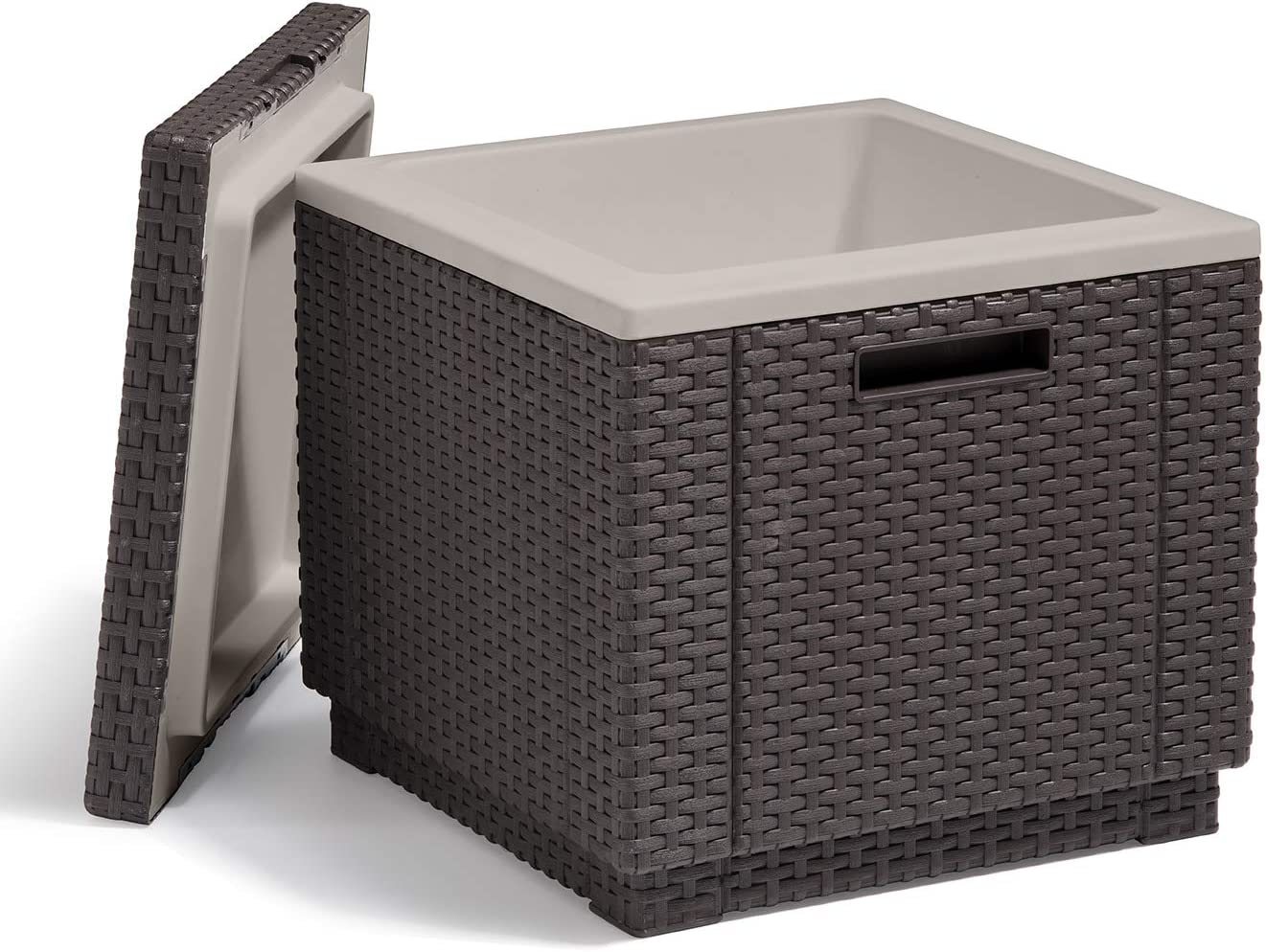 KETER Ice Cube Beer and Wine Cooler Table Perfect for Your Patio, Picnic, and Beach Accessories, Brown : Garden & Outdoor