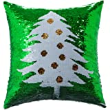 Homecy Reversible Sequins Pillow Cover Christmas Tree Patten Mermaid Pillowcases Cushion 16x16 Inch
