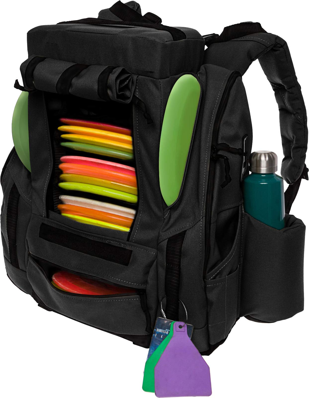 BagLane Fusion Elite Disc Golf Backpack Bag w/Seat & Cooler- 25+ Capacity (Black) by BagLane