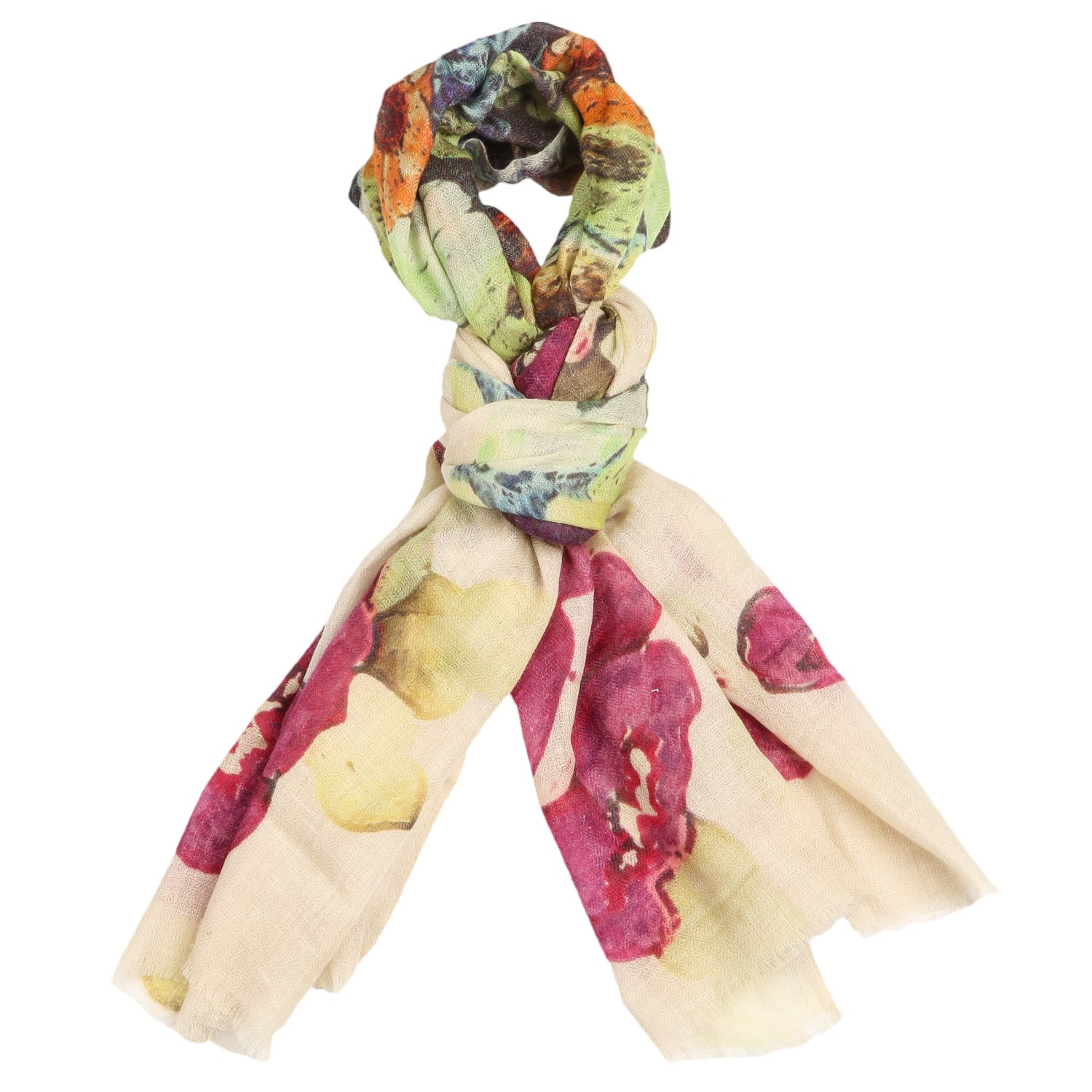 Cafsew Colours Womens Stole CG-0018-PWRM, Multi Coloured, Cashmere