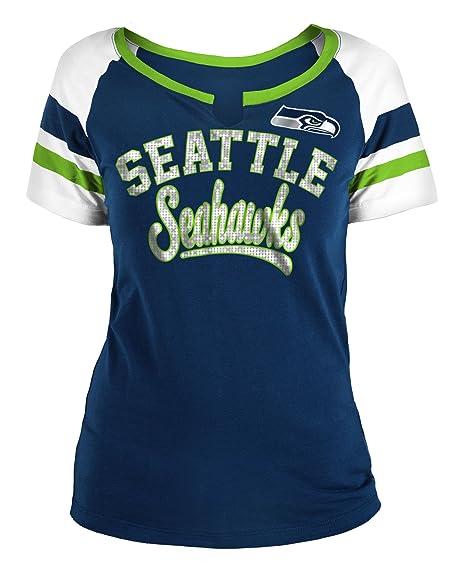 quality design 16434 1a97f Seattle Seahawks Women's Sequin Arch Split Neck T-shirt