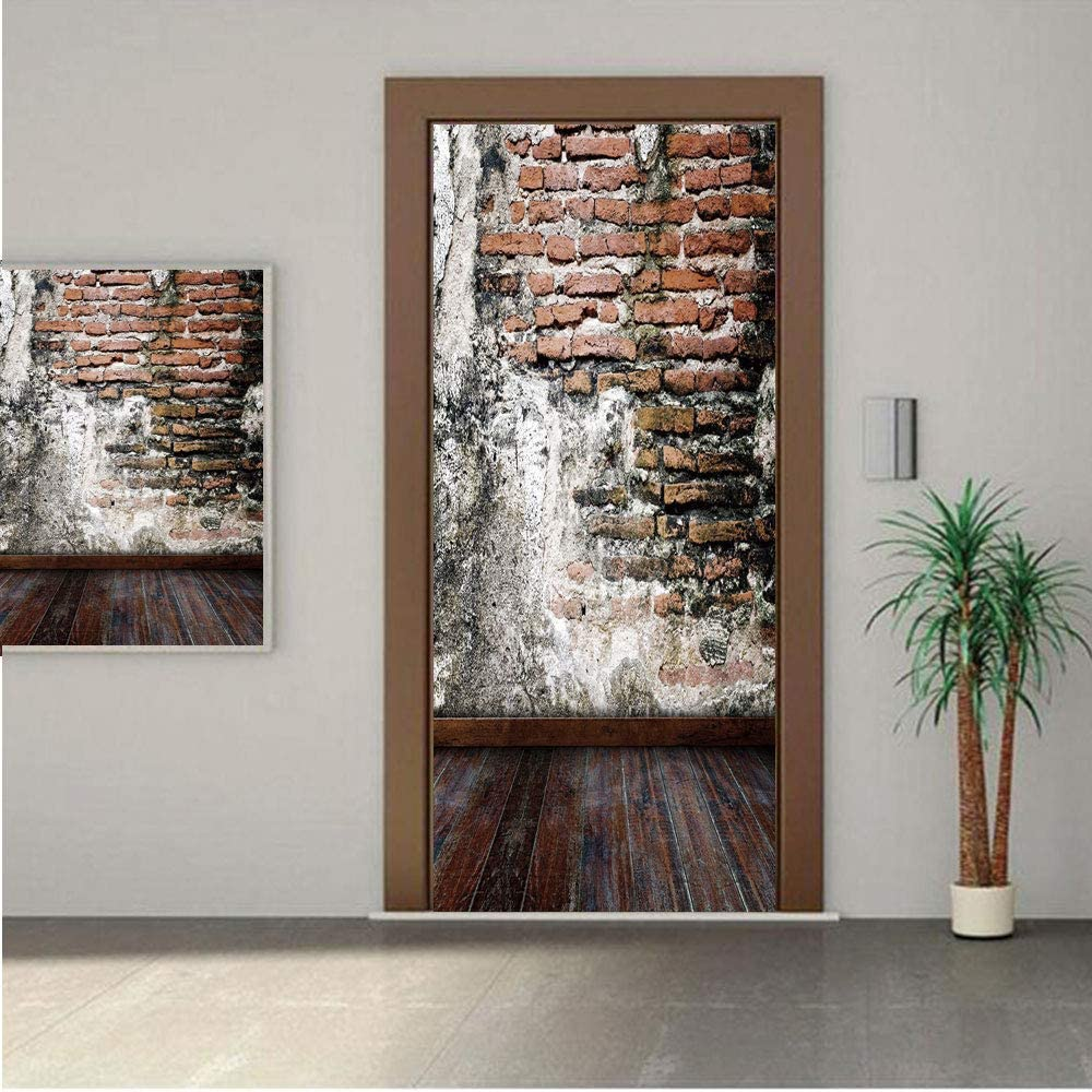 AngelSept Rustic Premium Stickers for Door/Wall/Fridge Home DecorWorn Looking Wall Photograph with Wooden Floors Ancient Building Structure Decorative 24x63 ONE Piece Sticky Mural,Decal,Cover,Skin