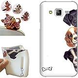 Samsung Galaxy J3 2016 Coque, LovelyC (Trois beaux chiens) Soft Gel TPU Housse Etui Silicone Case Cover pour Samsung Galaxy J3 (2016) +1x Bouchons de poussière