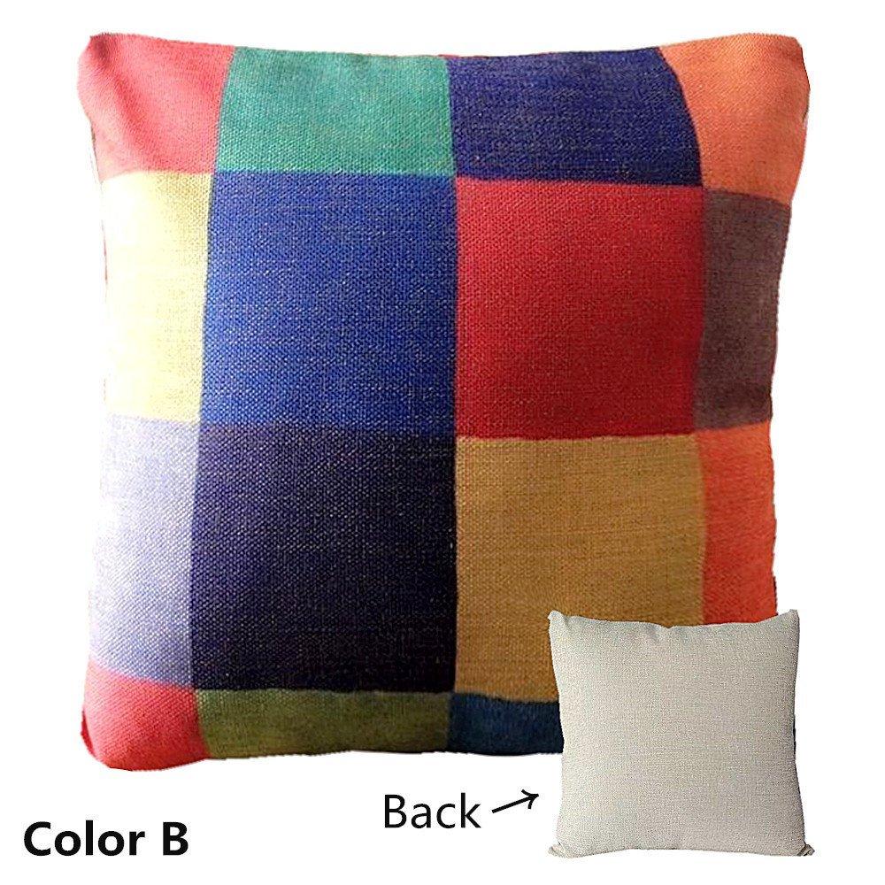 Fairy Gardenリネン枕ソファ枕ホーム装飾エスニックスタイル幾何パターン、18 x 18インチ、3色使用可能 18 inch*18 inch  C B07FPB6R98