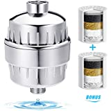 Shower Filter, TAPCET Showerhead Filter with 2 Cartridges 10-Stage Universal Water Filter, Hot and Cold Water Fliter for Purifying and Softening Hard Water- For Any Shower Head and Handheld Shower