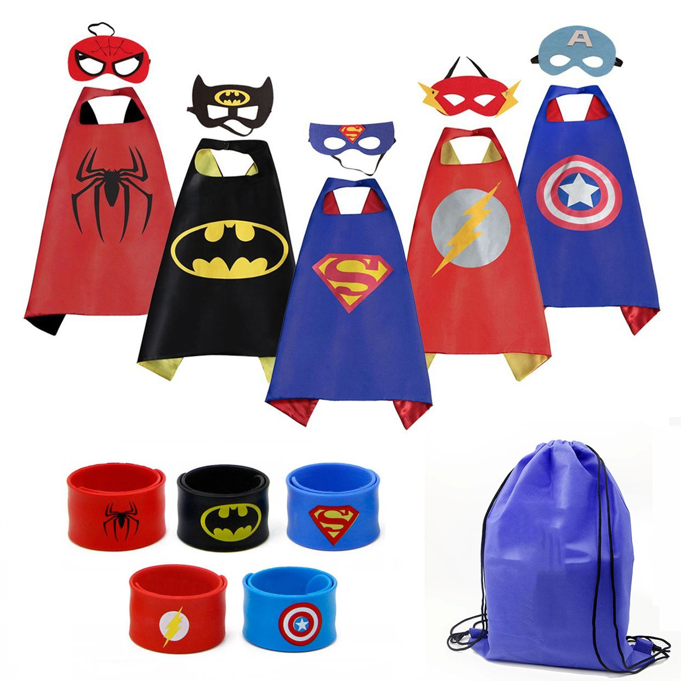 Mizzuco Cartoon Dress up Costumes Satin Capes with Felt Masks,Slap Bracelets and Exclusive Bag for Boys (5pcs Costume) by Mizzuco