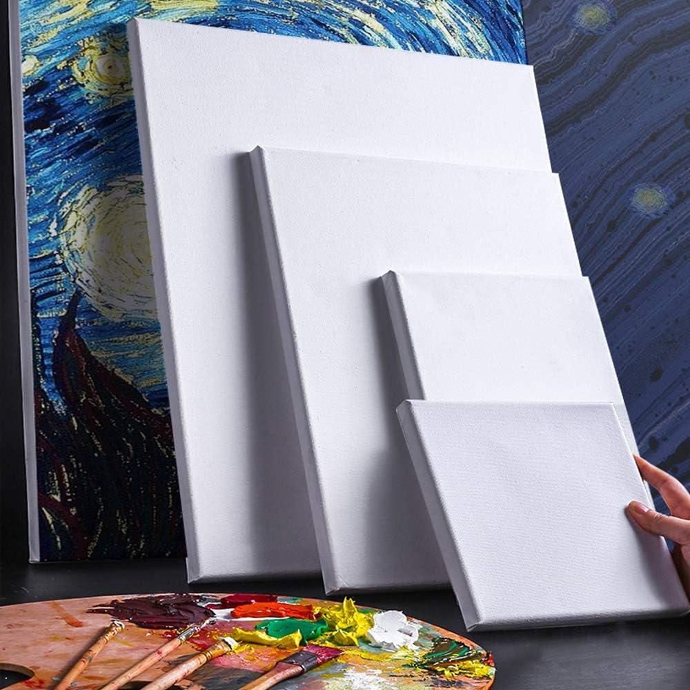 Lienzo con cu/ñas de madera juego de lienzo en blanco para pintura al /óleo y pintura acr/ílica lona 8*8 inch