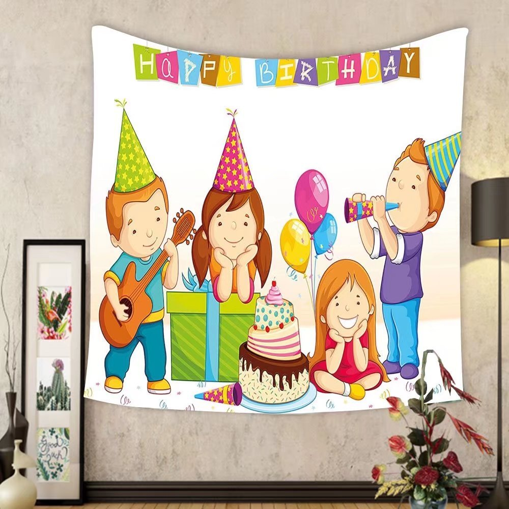 Gzhihine Custom tapestry Birthday Decorations for Kids Tapestry Cartoon Animals Snakes Elephant with Floral Details Image for Bedroom Living Room Dorm Multicolor