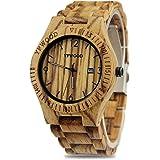 YFWOOD 木製腕時計 メンズに圧倒的な人気腕時計 優しい木の温もりを生かした腕時計 カレンダー付き ウッド時計 話題性 男性用 人気