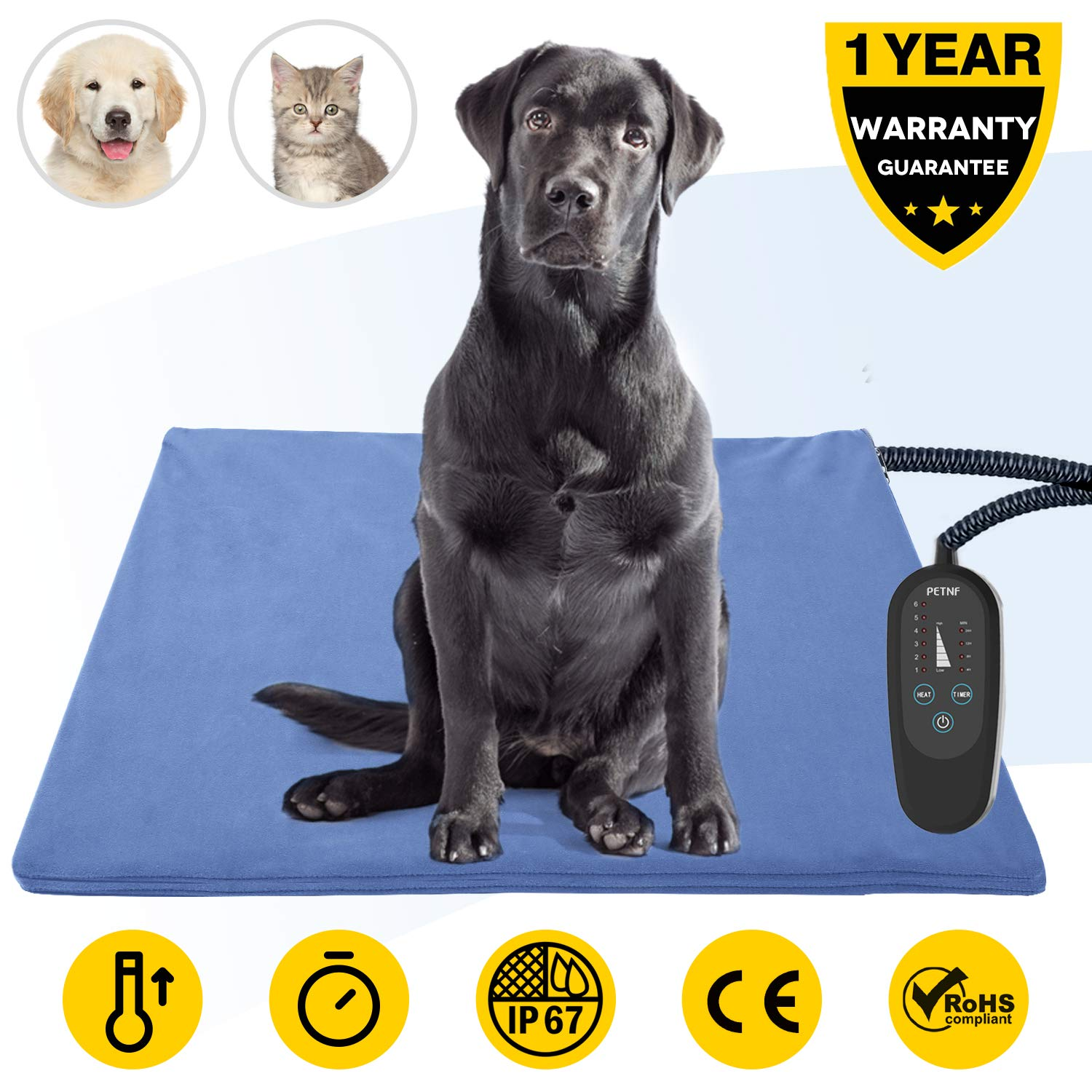 Pet Heating Pad,Dog Electric Heating Pad,29.5''x17.7'' Waterproof Heating Pad for Cats,Heated Mat Bed Safety Heating Indoor Adjustable Warming Mat for Pets with 6.9Ft Length Chew Resistant Steel Cord by petnf