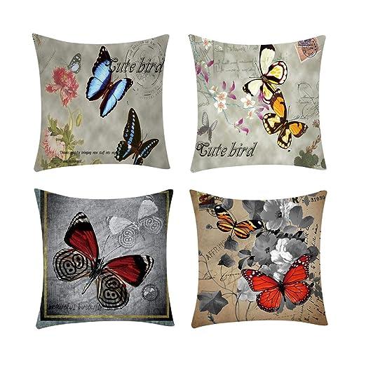 Sencillo Vida Fundas De Cojin Almohada Caso con Diseño Impreso de Floral Mariposa Decoración del Hogar para Dormitorio, Salón, Oficina, Cama, Sofá o ...