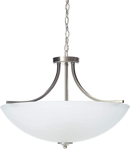 Sea Gull Lighting Sea Gull 7716504-962 Transitional Four Light Semi-Flush Convertible Pendant from Geary Collection in Pwt, Nckl, B S, Slvr. Finish, Large, Brushed Nickel