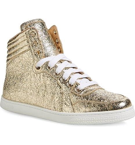 87d3f29eba1 Gucci Women s Metallic Leather High Top Sneaker