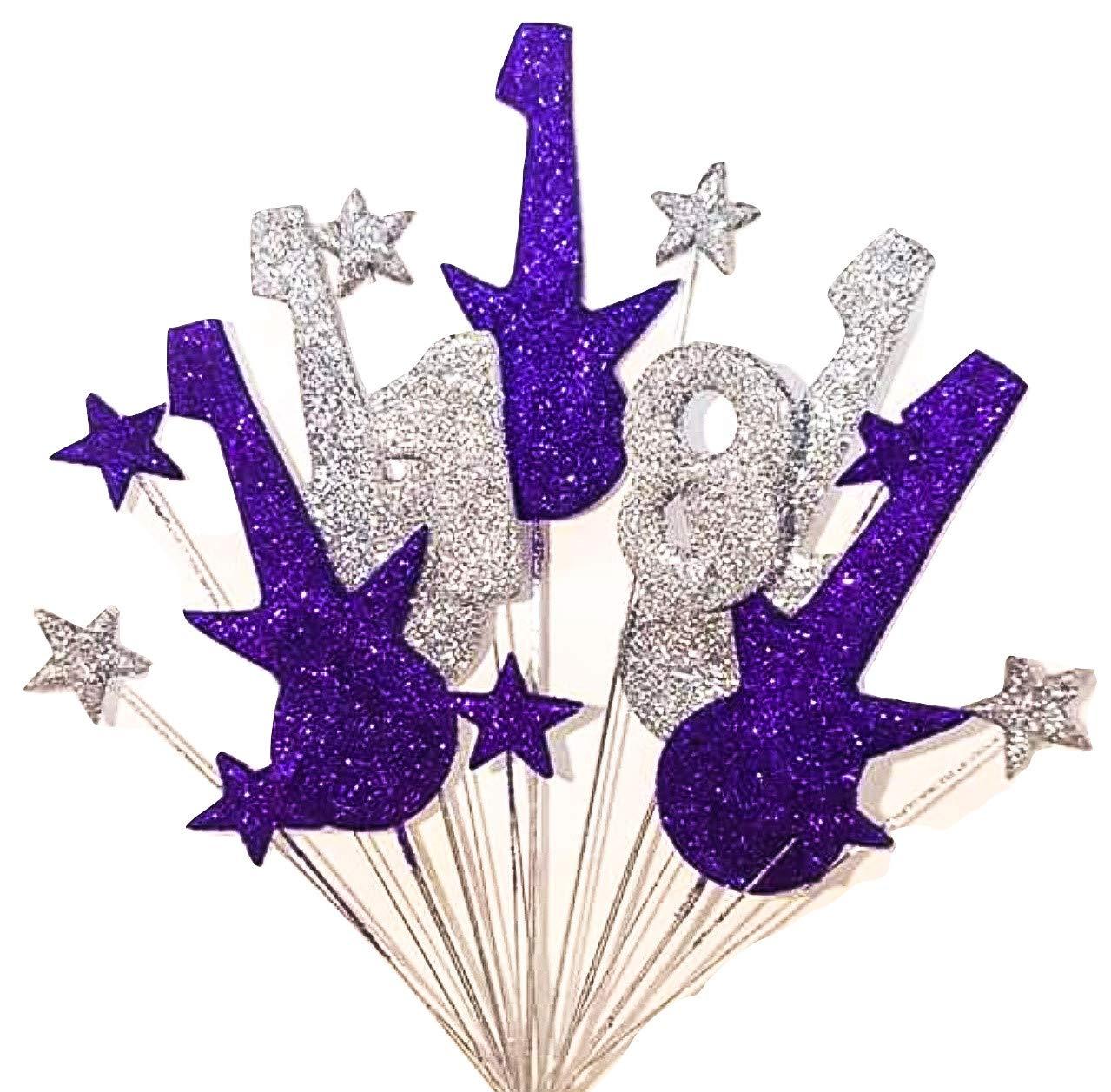 Fine Rock Guitar 18Th Birthday Cake Topper In Purple And Silver Funny Birthday Cards Online Ioscodamsfinfo