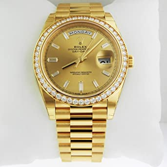 Rolex Day Date 40 President Yellow Watch 228348 Diamond Bezel Baguette Diamond Dial