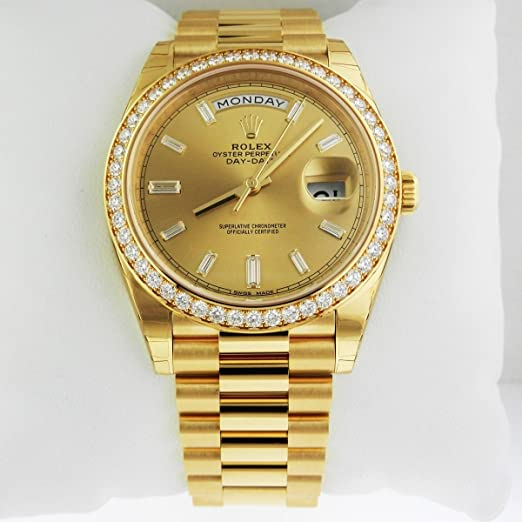 Rolex Day,Date 40 President Yellow Watch 228348 Diamond Bezel Baguette  Diamond Dial