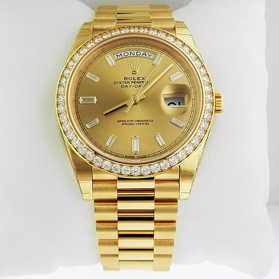 Rolex Day-Date 40 Presidente amarillo reloj 228348 bisel diamante Baguette diamante Dial
