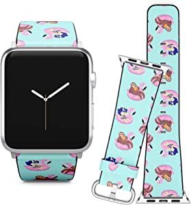 Compatible with Apple Watch (38/40 mm) Series 5, 4, 3, 2, 1 // Leather Replacement Bracelet Strap Wristband + Adapters // Summer Unicorn Sloth