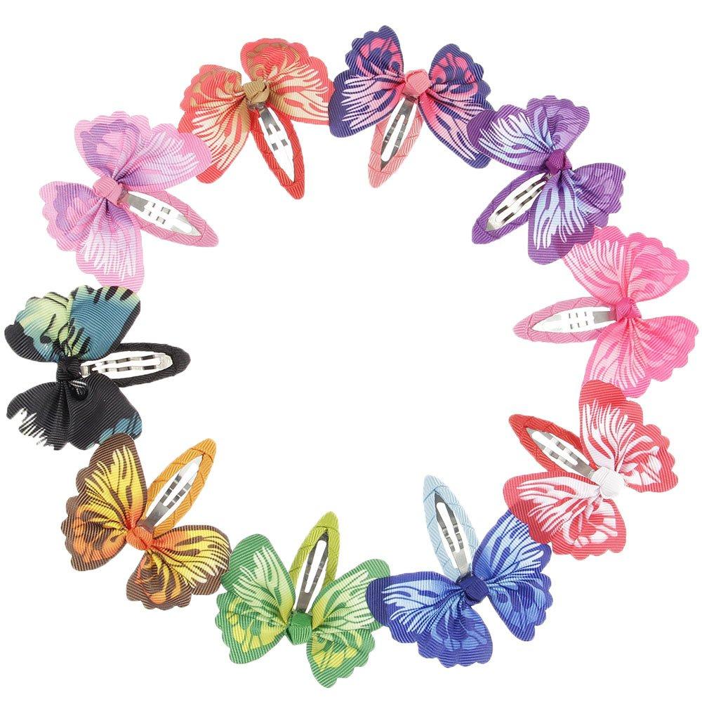 lovinglove Chiffon Flower Hair Bow Clips For Teens Toddlers Kids Children (10 Butterflies)