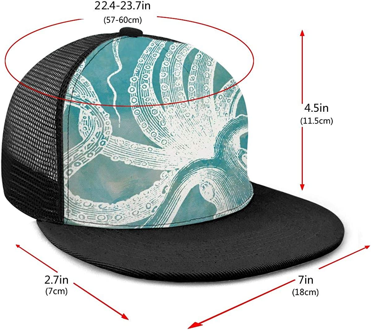 Breathable Trucker Mesh Cap for Unisex Unisex 100/% Polyester Octopus White Outline Baseball Cap