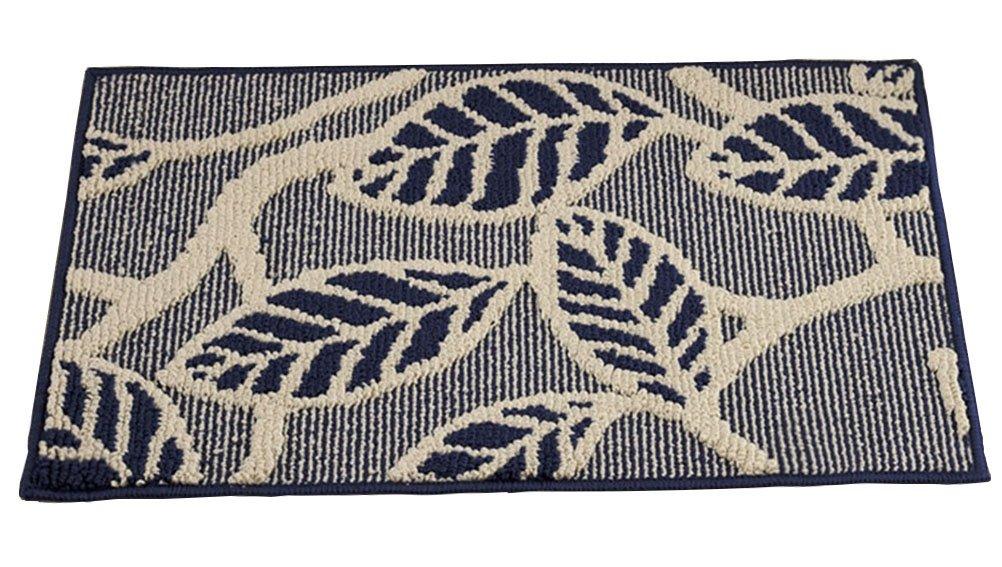 Leaves Navy 17.5 X 27.5IN ZebraSmile Leaves PatternsHome Entrance Door Mat Indoor Mat Entry Polypropylene Doormat Entryway Door Mat Entryway Front Door Carpet for Bedroom Indoor Mat Non Slip Back Office Door mat