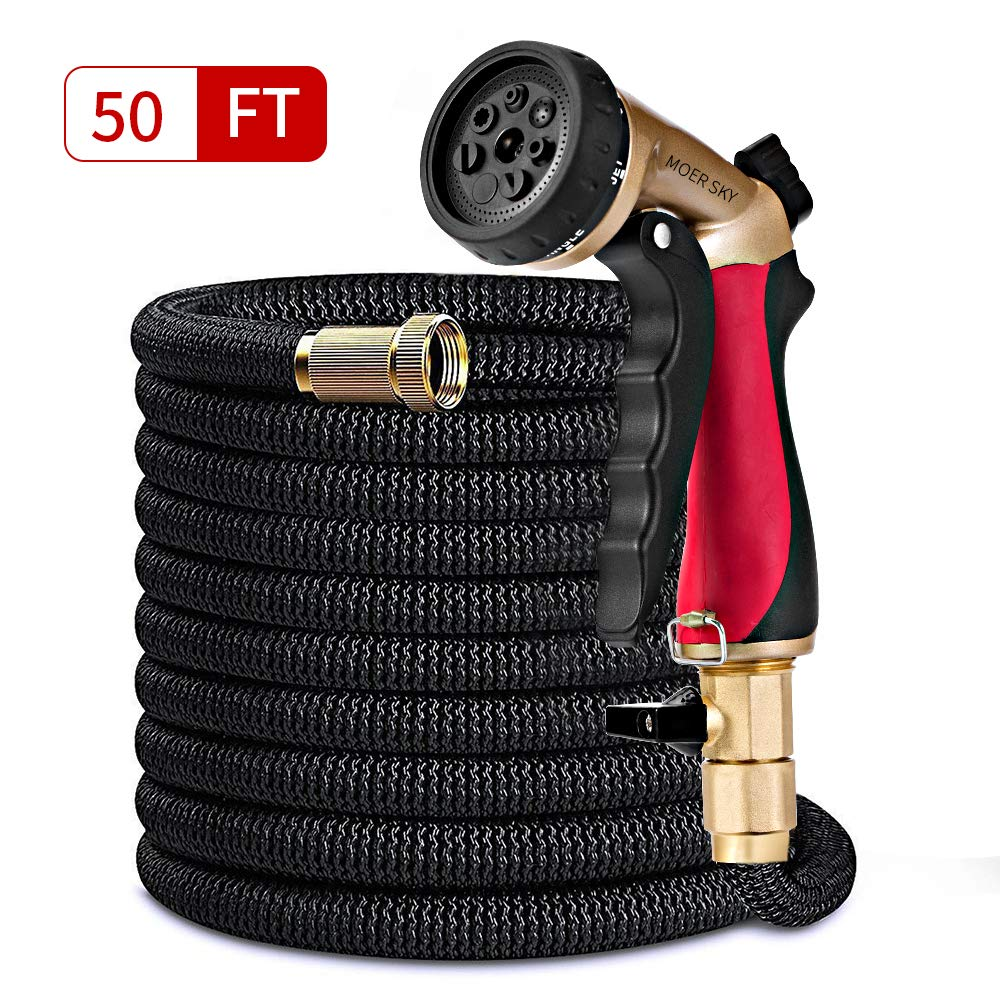 Moer Sky 50ft Garden Hose Upgraded Expandable Hose with Double Latex Core, 3/4 Solid Brass Connector, 7 Function Metal Spray Nozzle, Lightweight Durable Outdoor Gardening Flexible Hose for Yard