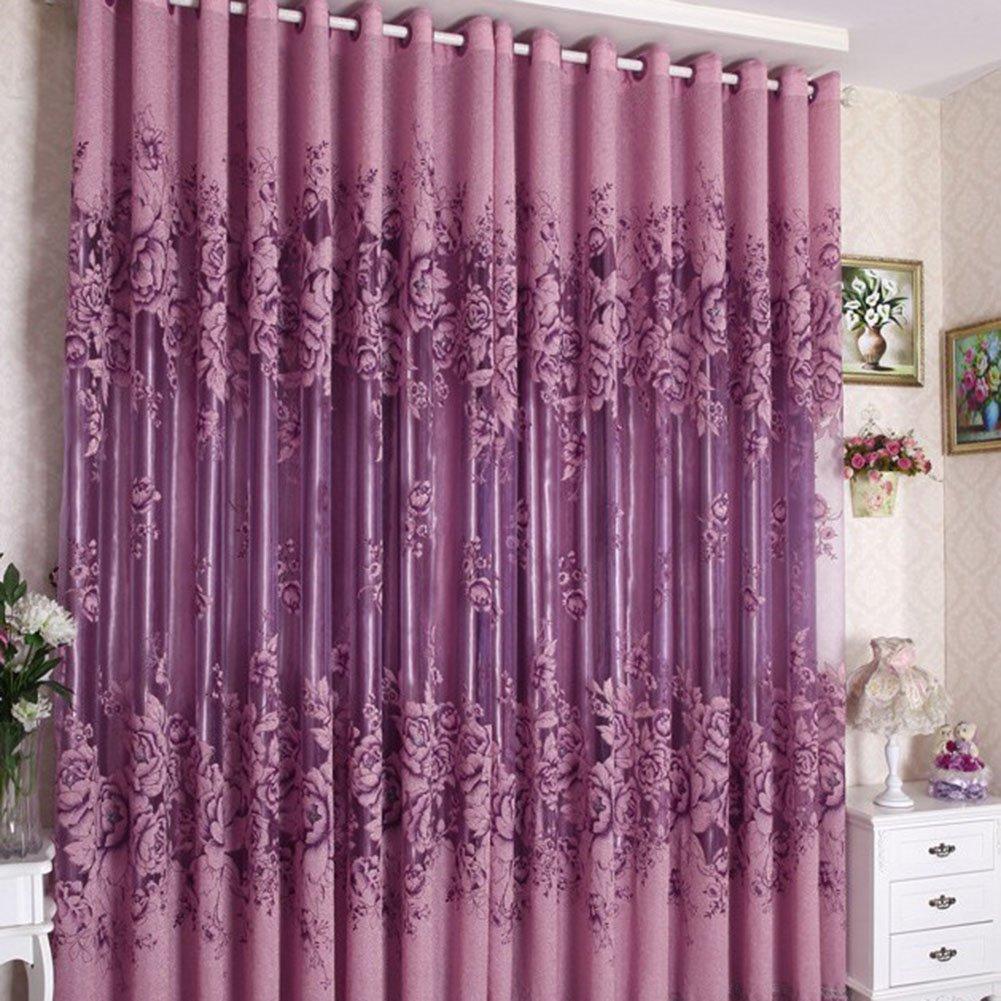 Attirant Amazon.com: PanDaDa Modern Room Floral Tulle Window Screening Curtain Drape  Scarf Purple: Sports U0026 Outdoors