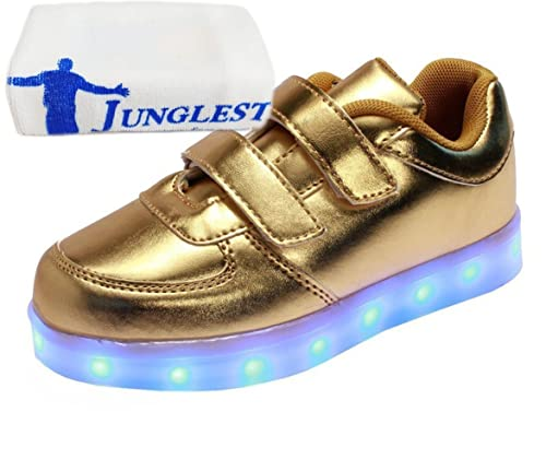 8d3e4c92 junglest (Presente:Pequeña Toalla) Unisex Child Niños Niñas 7 Color USB  Carga LED Luz Glow Luminosos Light Up Velcro Flashing Sneakers Zapatos  Infantiles ...