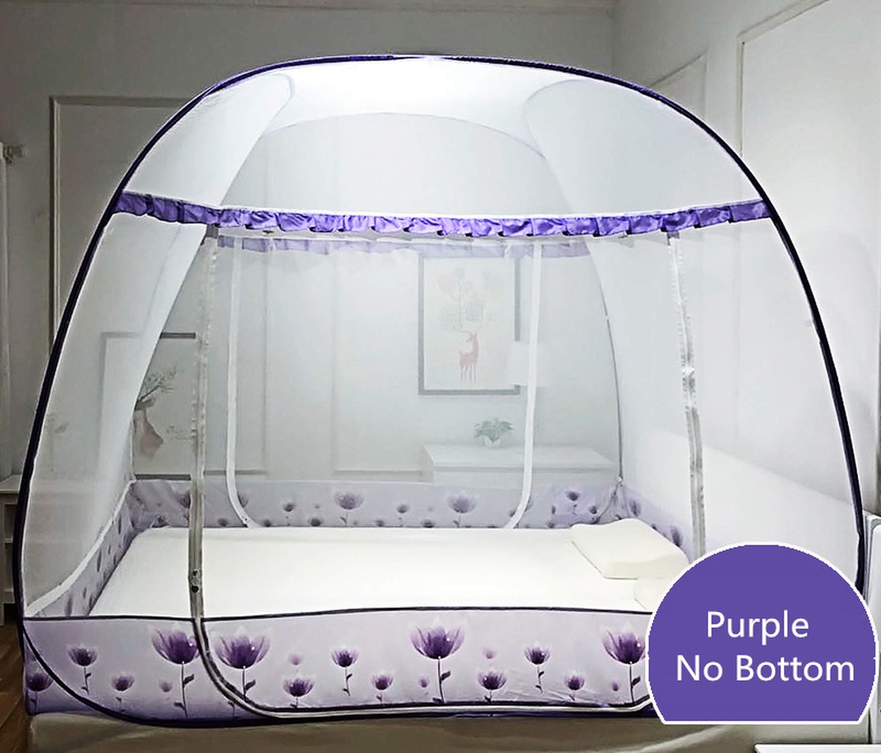 Large Square Mosquito Net for 1.8m Double Bed Insect Reject Bedding Net Three Door with Zipper Folding Portable Bed Net 13 Color,TK bainiaolanquandi,1.8m (6 feet) Bed by SuWuan mosquito net (Image #6)