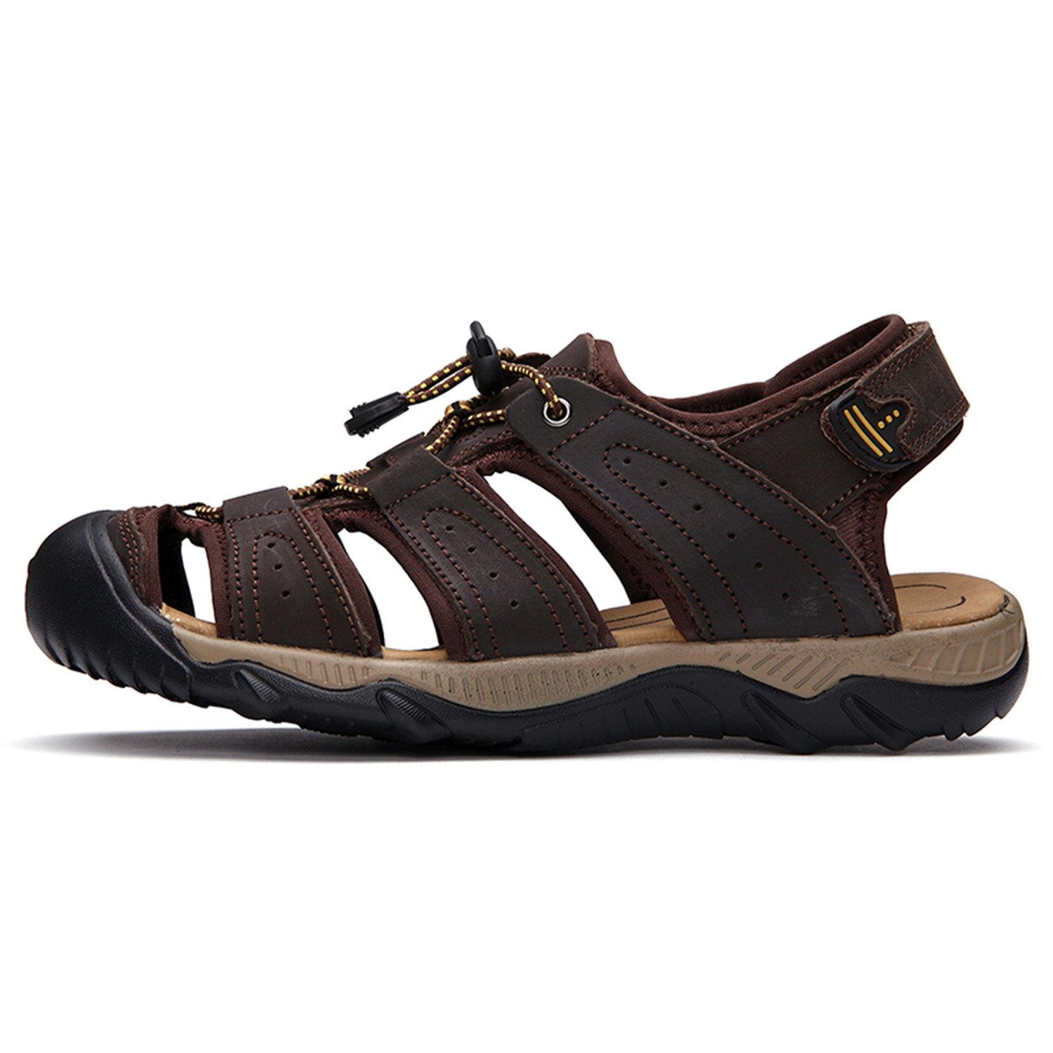 Amazon.com | Willie Marlow Men Sandals Genuine Leather Fashion Hook & Loop Comfortable Leisure Beach Sandals | Sandals
