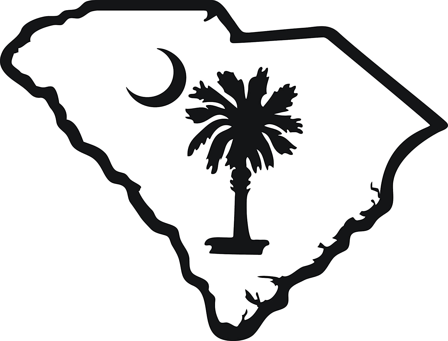 amazon com sc state outline with south carolina palmetto moon 6