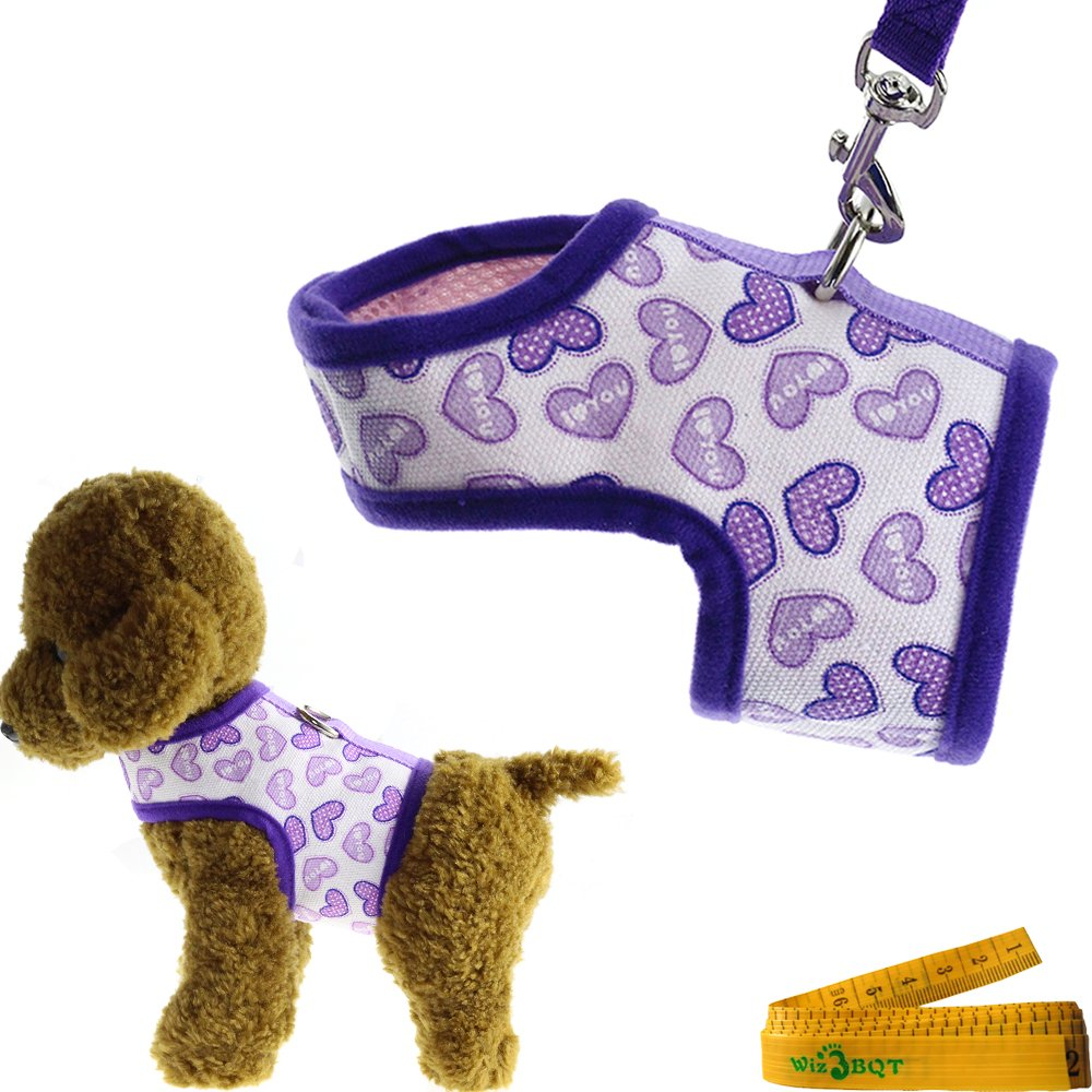 Purple Bright Soft Comfortable Mesh Heart Printed Dog Cat Pet Vest Harness and Matching Leash Set for Dogs Cats ((10.2''-11.8'') Chest Girth)