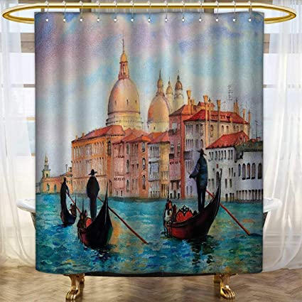 Venice Shower Curtains Mildew Resistant Watercolor Painting Of Serene Cityscape Antique Gondolas Scenic Patterned