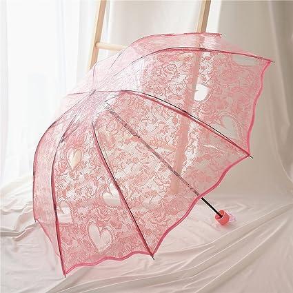 Verano Blanco Transparente Tres Paraguas Plegable Hombres y Mujeres Paraguas Impermeable Paraguas de Viaje (Color