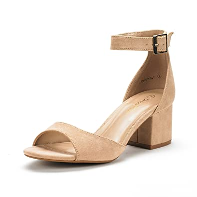970842340bf DREAM PAIRS Women s Chunkle Nude Suede Low Heel Pump Sandals Ankle Strap  Dress Shoes - 5.5