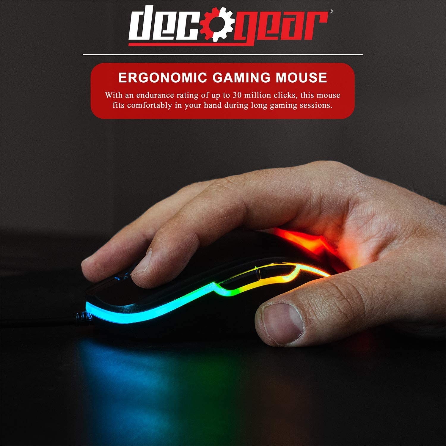 6 Buttons High Precision Optical Mouse 800-5000 Adjustable DPI Ergonomic for All Gaming Grips Deco Gear Wired Gaming Mouse 11 RGB Backlit Modes