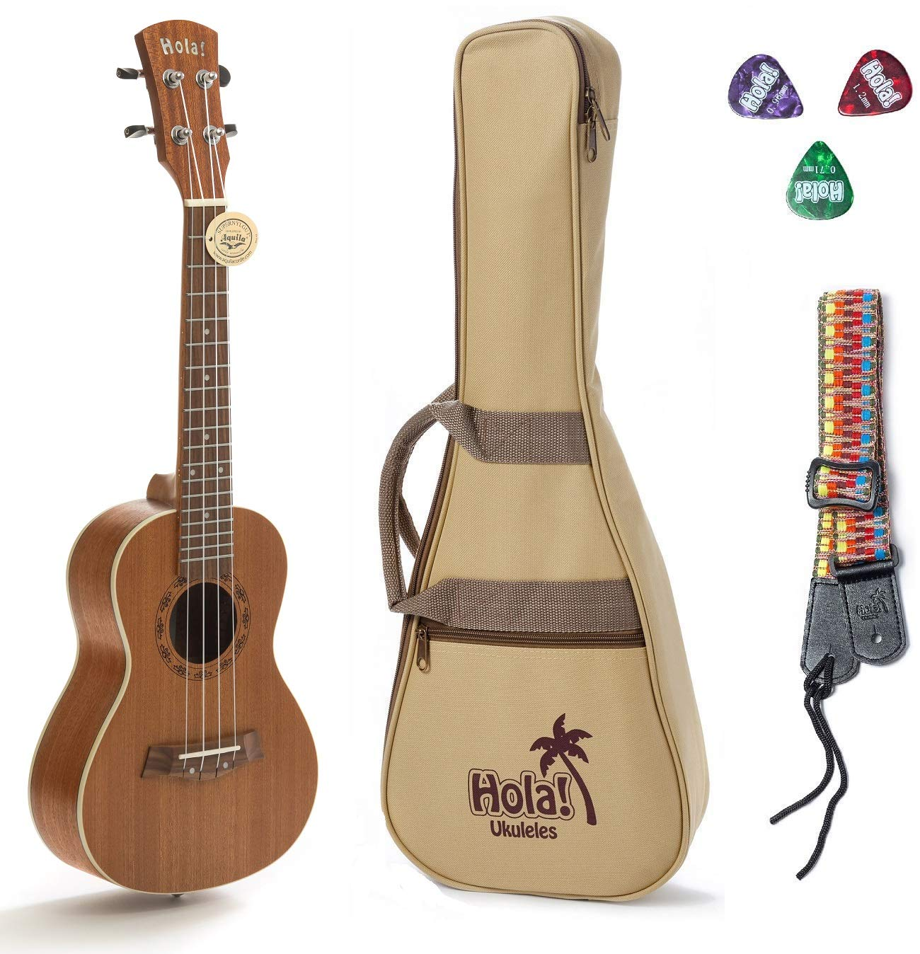 Concert Ukulele Bundle, Deluxe Series by Hola! Music (Model HM-124MG+), Bundle Includes: 24 Inch Mahogany Ukulele with Aquila Nylgut Strings Installed, Padded Gig Bag, Strap and Picks by Hola! Music