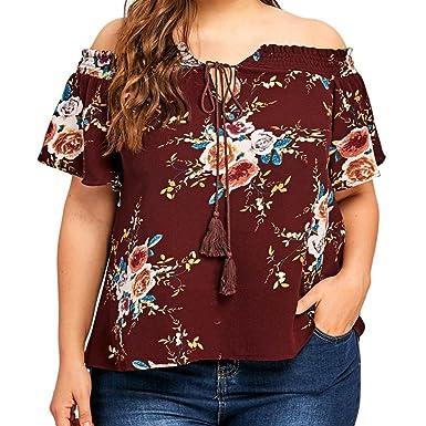 d3593cf8317e6 VJGOAL Ladies Floral Print Off Shoulder Shirt Top Large Size Women Floral  Printing T-Shirt Short Sleeve Casual Tops Blouse  Amazon.co.uk  Clothing