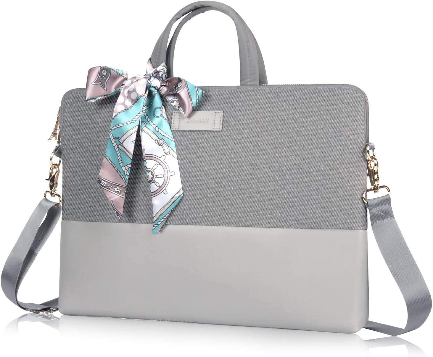 Kamlui 14 Inch Laptop Bag - for Women Computer Shoulder Messenger Laptop Case (Gray)