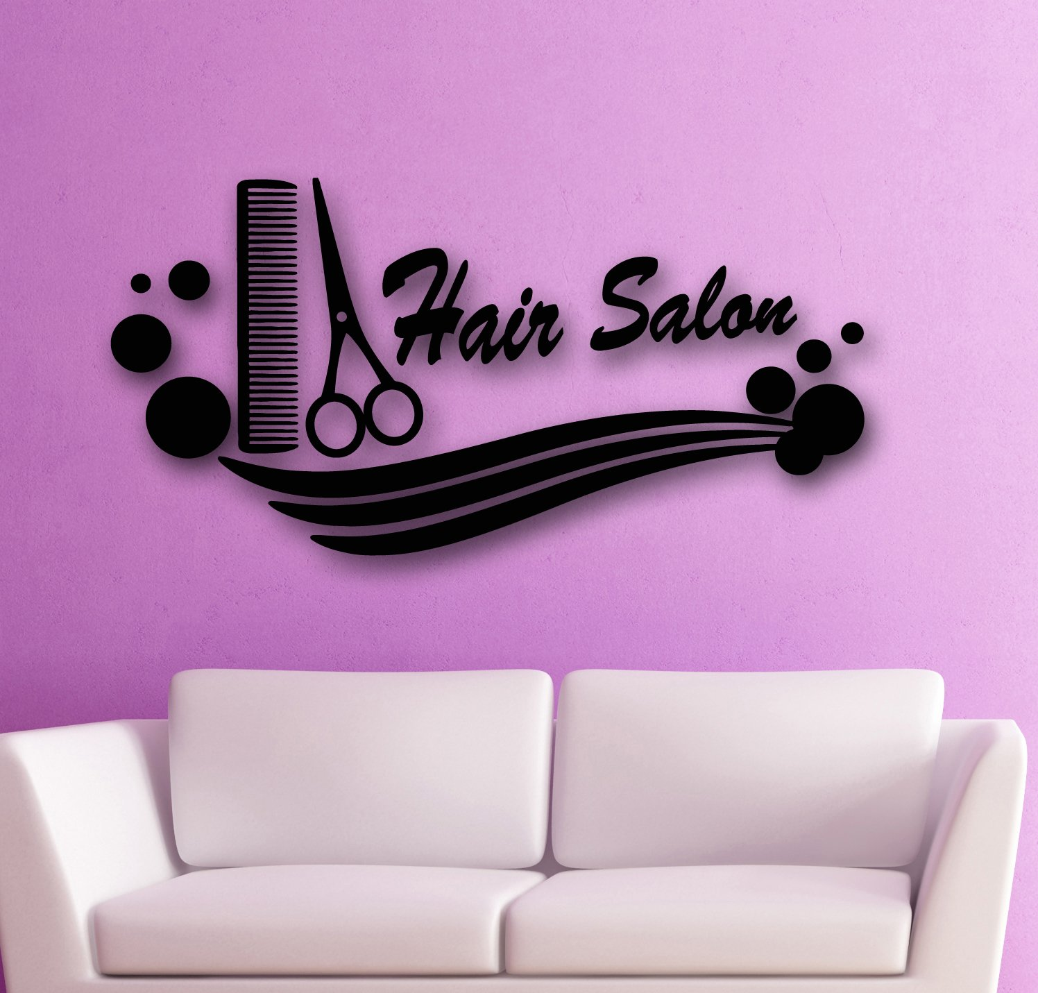 Wall Stickers Vinyl Decal Hair Salon Barbershop Scissors Beauty Comb Spa (i633) M 35 in X 17.5 in