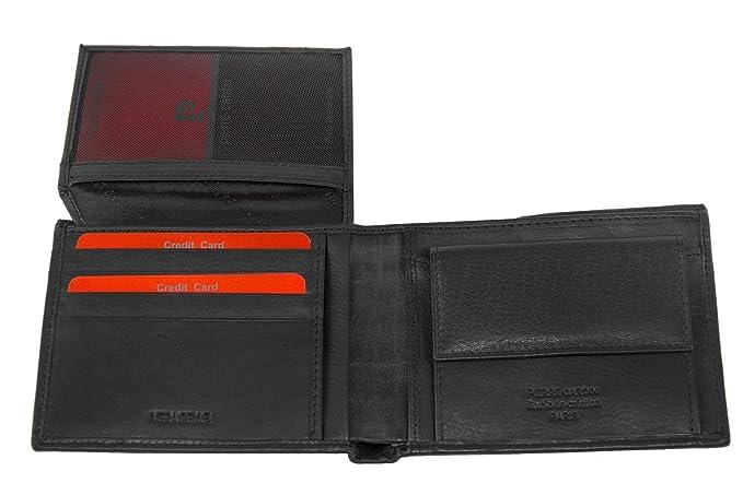 0c63d3710a Portafoglio uomo PIERRE CARDIN nero in pelle con portamonete e patta A5463:  Amazon.it: Abbigliamento