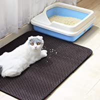 Authda Cat Litter Mat Double Layer Honeycomb Washable Non Toxic Durable Foam Rubber Easy Clean Floor Carpet Protection Cat Litter Tray Liner Various Sizes (40 x 60cm, Black)