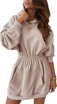 Sudadera con Capucha para Mujer Vestido Sudadera con Capucha Moda Casual de Manga Larga con Cintura Elástica para Otoño/Invierno