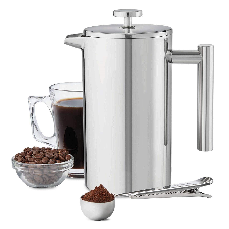 MMPY Cafetera Doble de Acero Inoxidable, 1000 ml 6 Tazas |, Olla ...