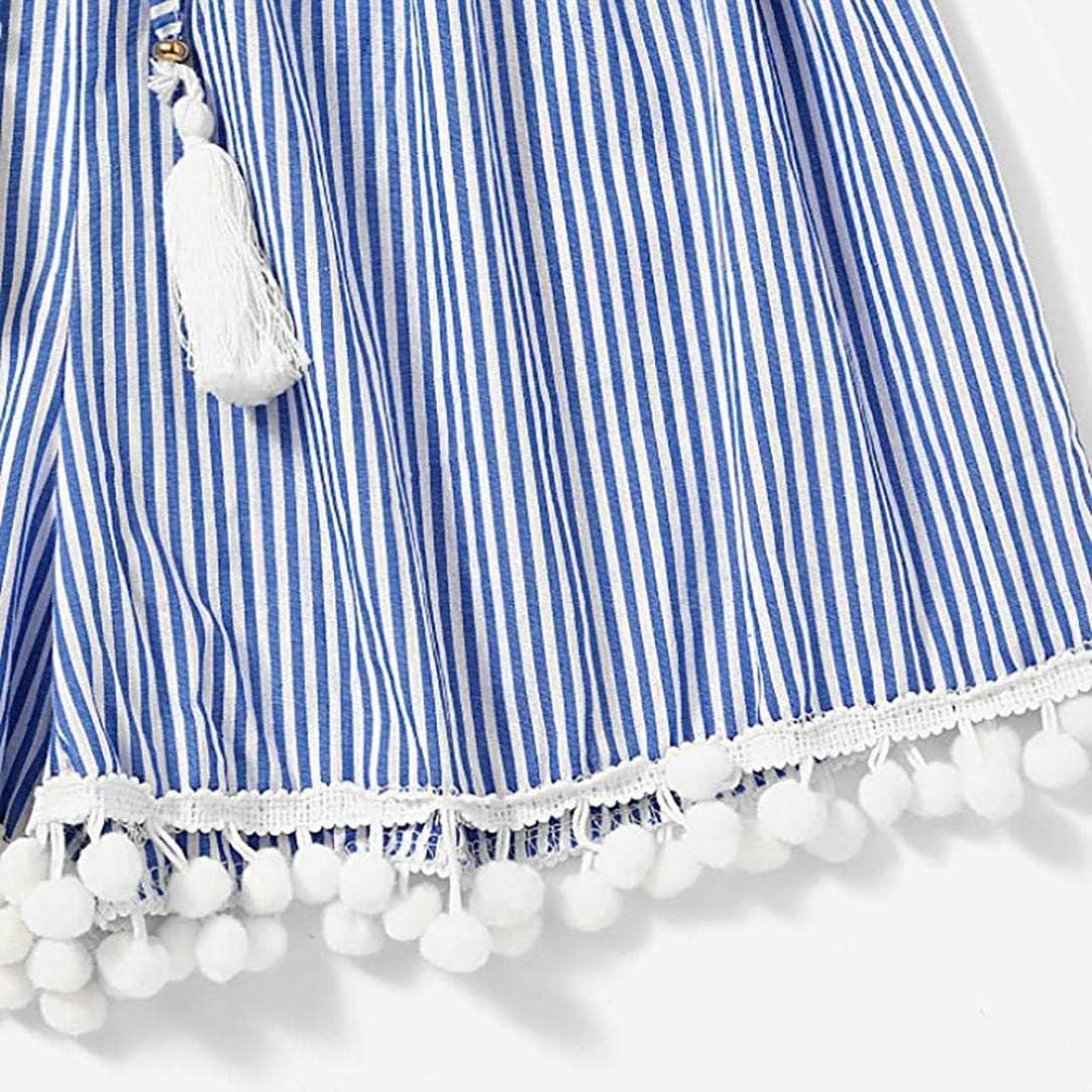 Casual Shorts,Lowprofile Womens Stripe Mid Loose Waist Tassel Beach Boho Hot Shorts Pants Trousers