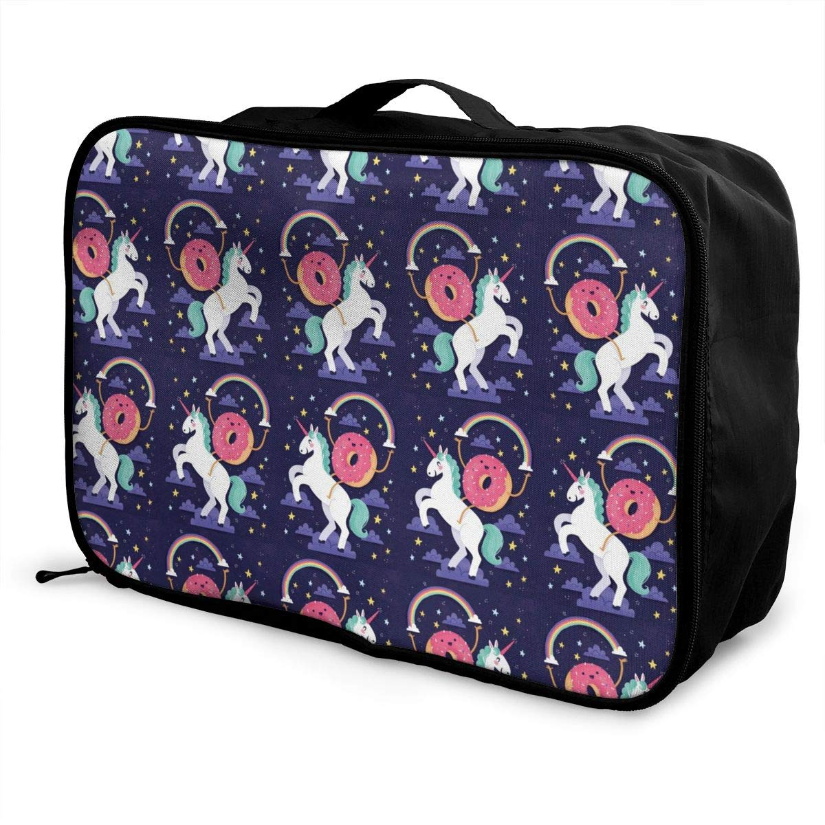 Cute Donut Rides On Rainbow Unicorn Overnight Bag Gym Hiking Travel Duffle Bag Weekender Bag In Trolley Handle Nylon Lightweight Tote Luggage Bag Water Repellent Luggage Hanging Bag